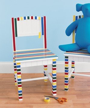 electrical-tape-used-to-decorate-a-chair