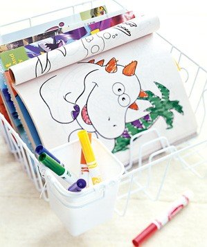 dishrack-used-to-organize-coloring-books