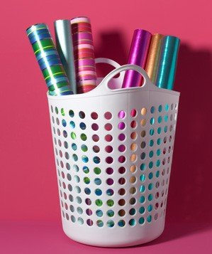 laundry-hamper-as-wrapping-paper-holder