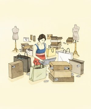 woman-shopping-sample-sale-illo