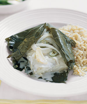 halibut-grape-leaves