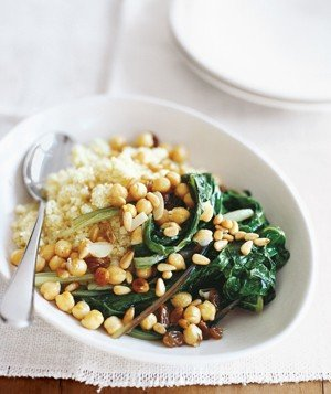 Swiss Chard With Chickpeas and Couscous Recipe | Real Simple