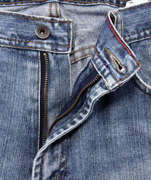 Zipper on jeans