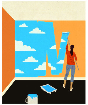 woman-painting-clouds-wall