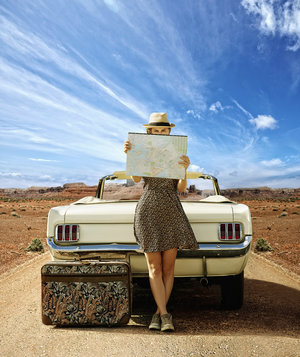 woman-convertible-map-road
