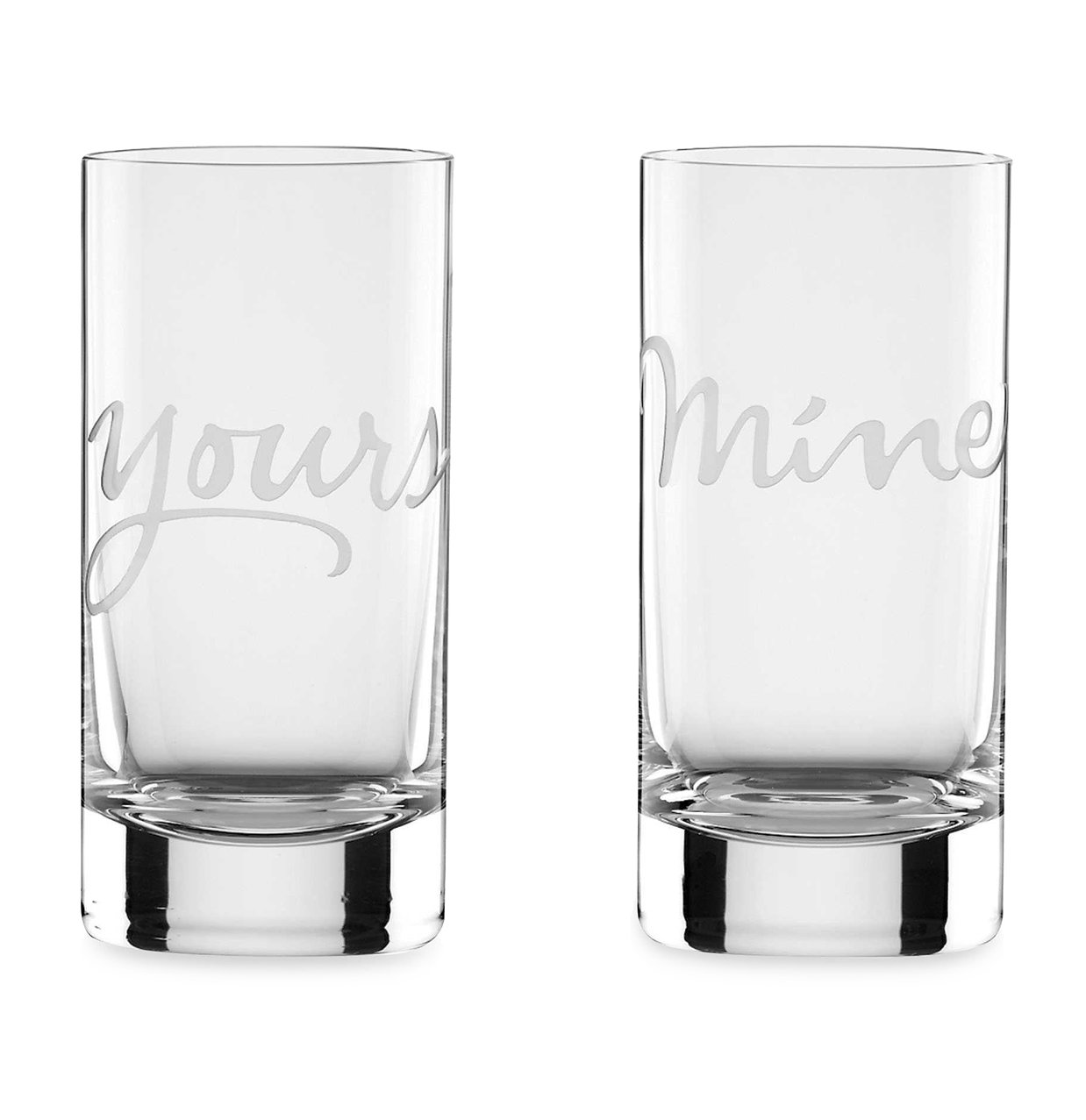 "Gifts for Couples: ""Mine"" & ""Yours"" Highball Glasses"