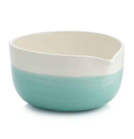 Crate and Barrel Aqua Dip Mixing Bowl With Spout