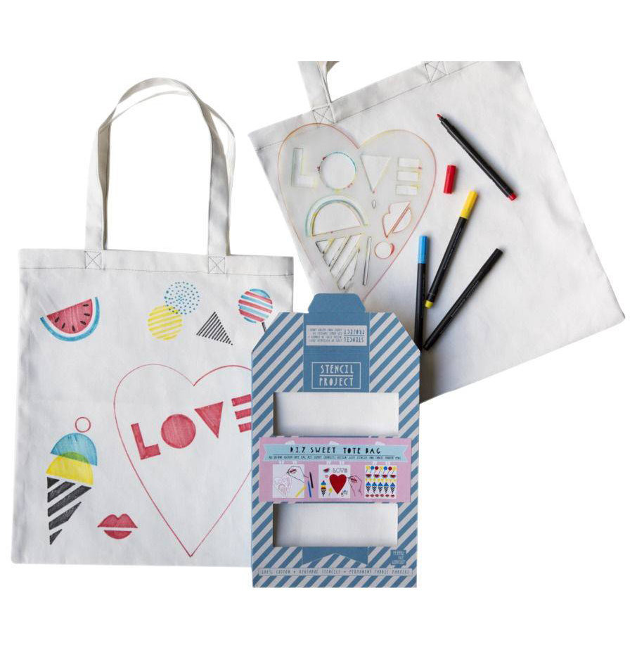 Valentine Gift Ideas for Kids: Sweet Tote Bag Stencil Kit