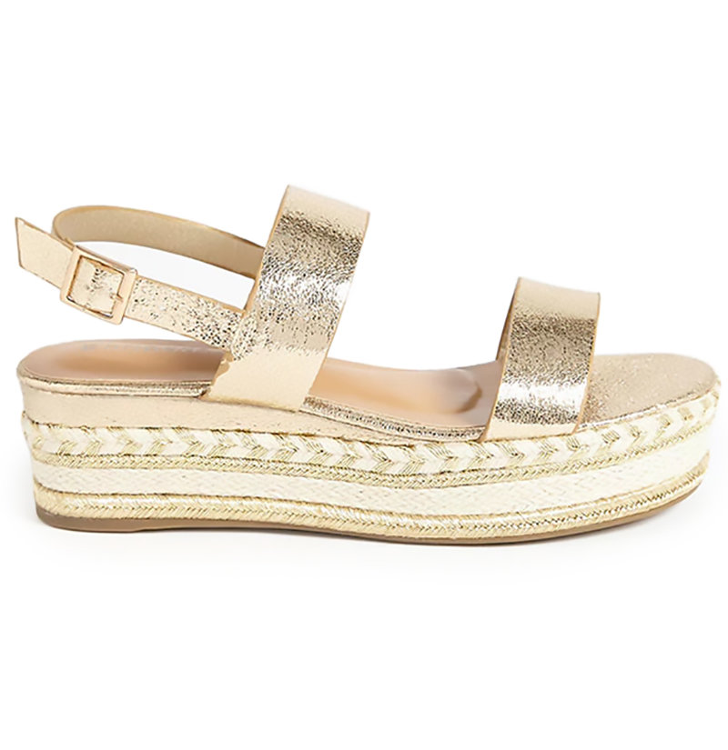 Forever 21 Faux Leather Crochet & Metallic Slingback Sandal