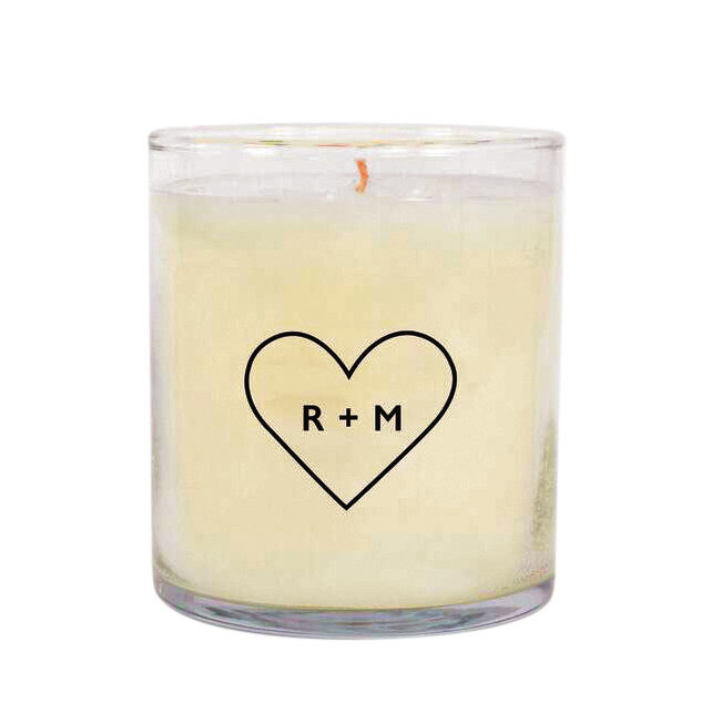 Personalized Double Letter Heart Candle
