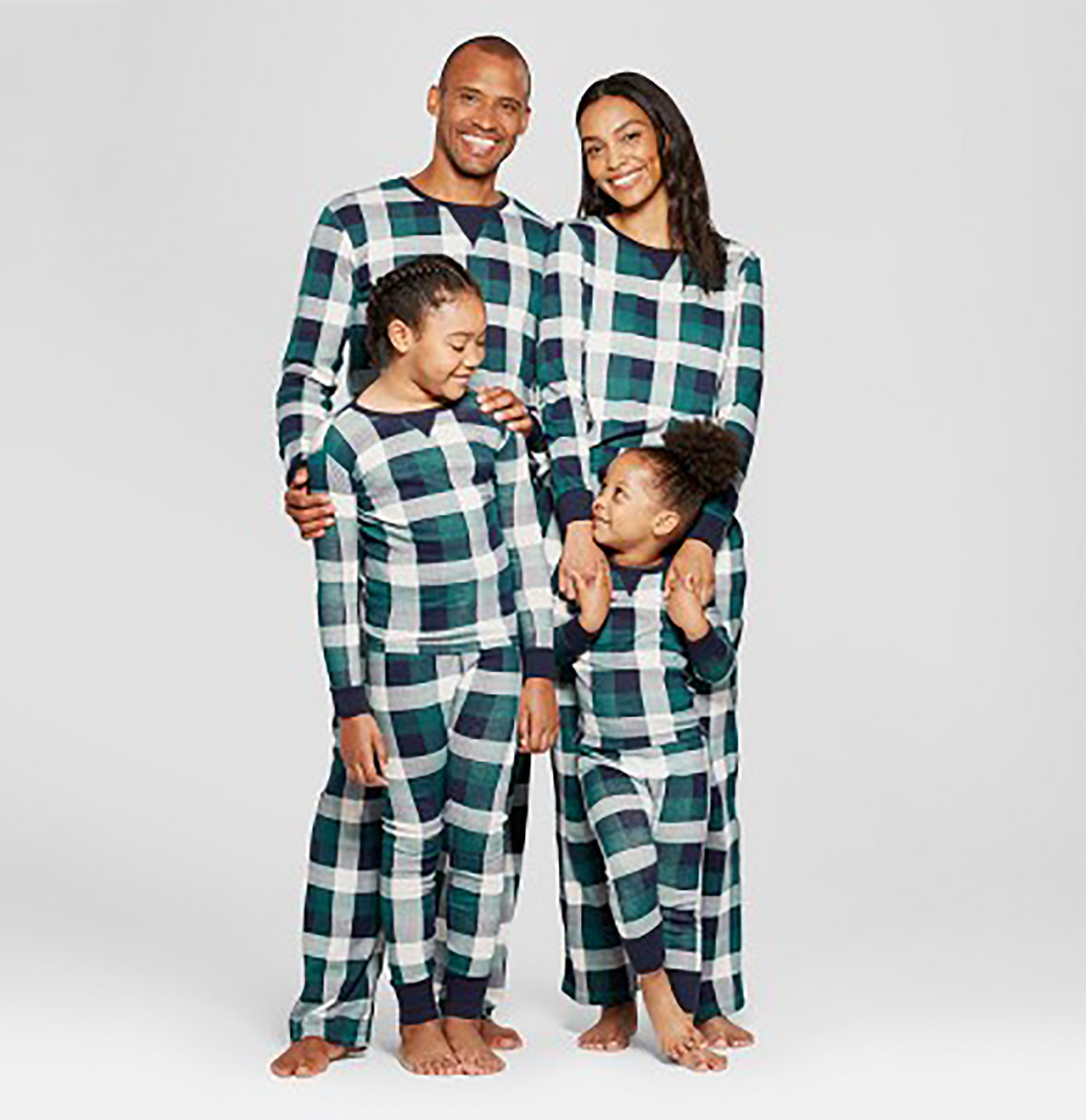 green plaid family pajamas collection