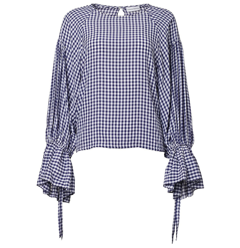 Scanlan Theodore Gingham Ruffle Sleeve Top
