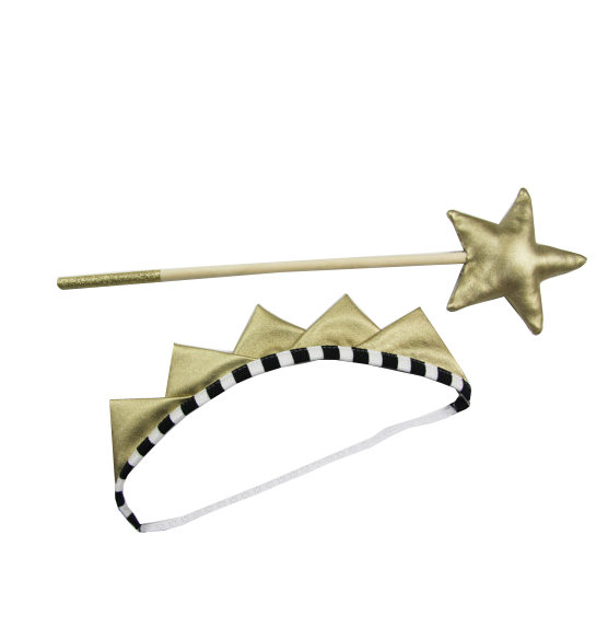 Gold Crown and Wand Set