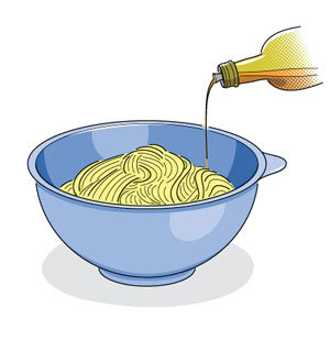Tossing Cooked Pasta With Oil to Prevent Sticking