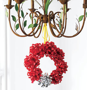 Bow wreath hanging from a light fixture