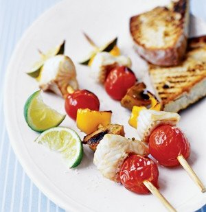 Fish Kebabs With Vegetables