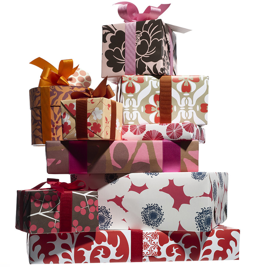 stack of wrapped gifts