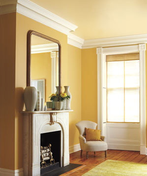 Gold butter cream color combinations for your home real simple for Wall paint color combination for living room