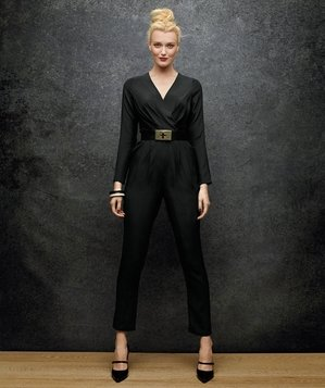 Model wearing black jumpsuit