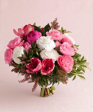 Pink Peony And Garden Rose Mix Pink Wedding Flowers