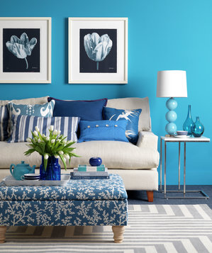 cool blue  colorful decorating ideas for a small room