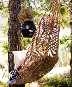 Garden hammock and lanterns