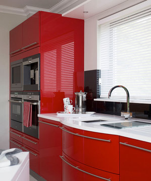 Glossy red kitchen cabinets