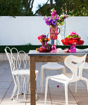 Mismatched outdoor dining set