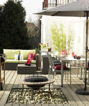 Grey inspired outdoor living and dining area