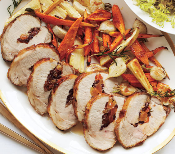 Stuffed pork loin with roasted root vegetables christmas dinner menu real simple - Christmas pork roast five recipes ...