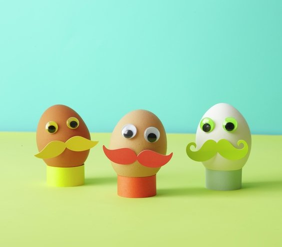 Make Mustache Men | No-Dye Easter Egg Decorating Ideas | Real Simple