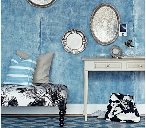 Decorating with blue real simple - Blue and silver living room ...