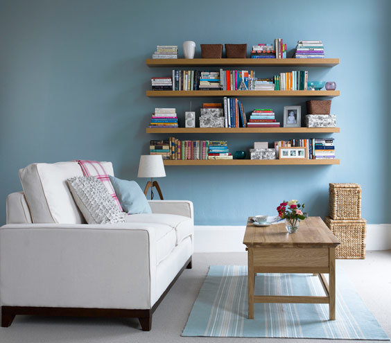 Colorful Book Room: If You Gravitate To Soft, Cool Hues…