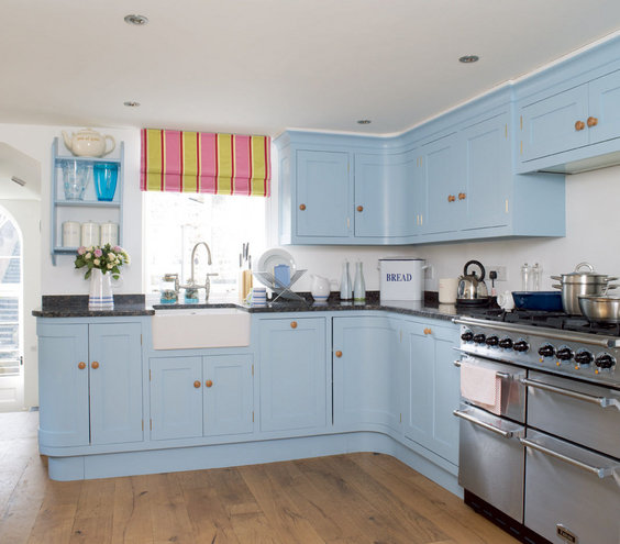 something blue   amazing kitchen decorating ideas  real simple,Blue Kitchen Cabinets,Kitchen ideas