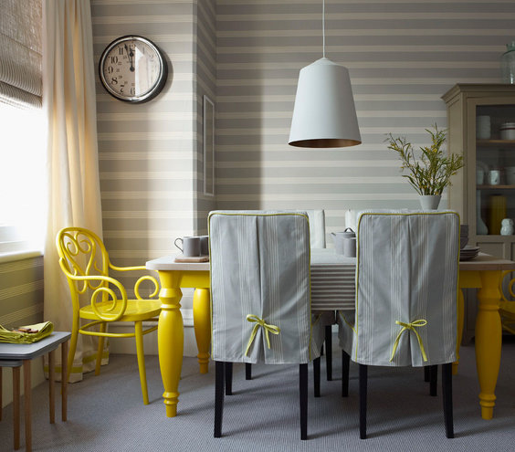 Bright spot 32 elegant ideas for dining rooms real simple for Yellow dining room ideas