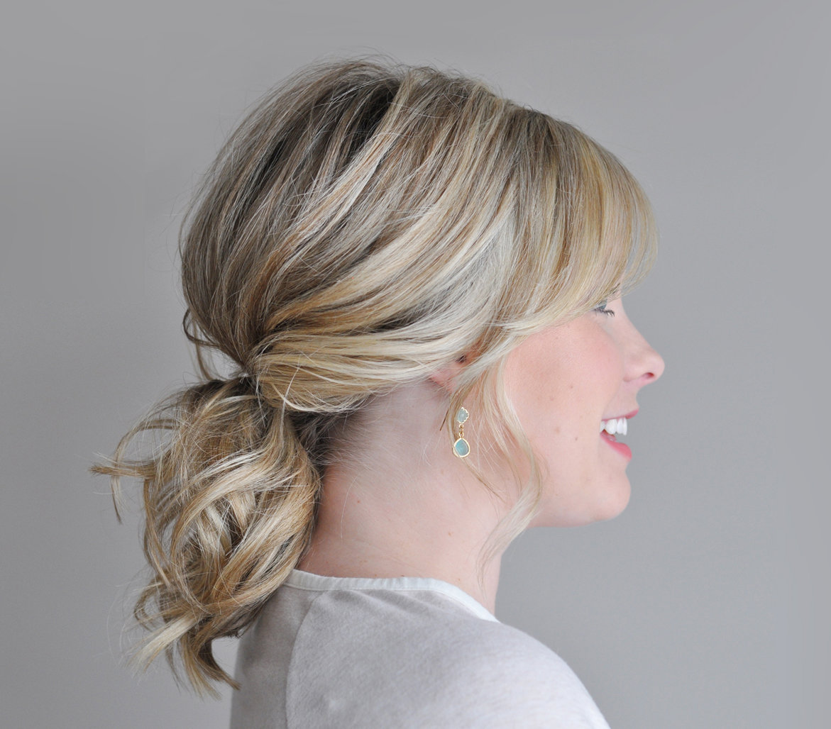 Easy Hairstyle For Daily Office : Twisted phony tail office ready hairstyles real simple