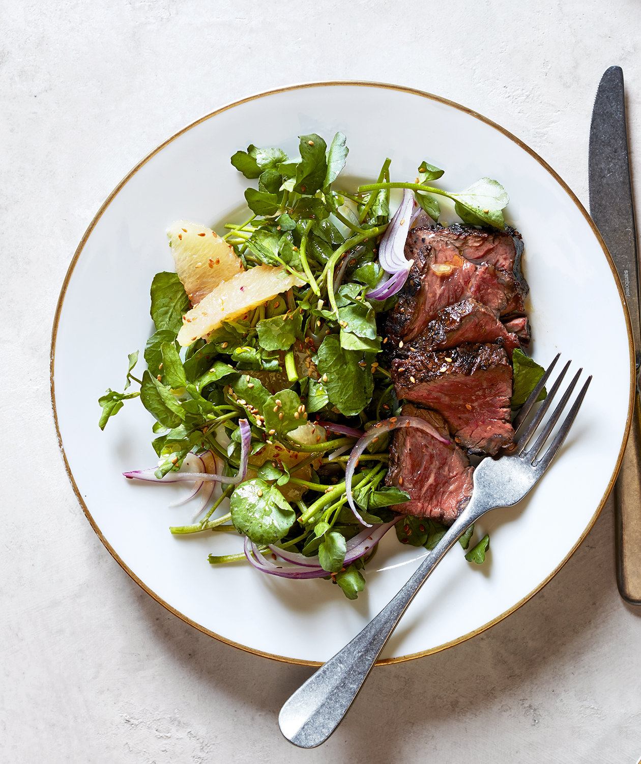 Hanger Steaks With Watercress, Grapefruit, and Red Onion Salad | Real ...