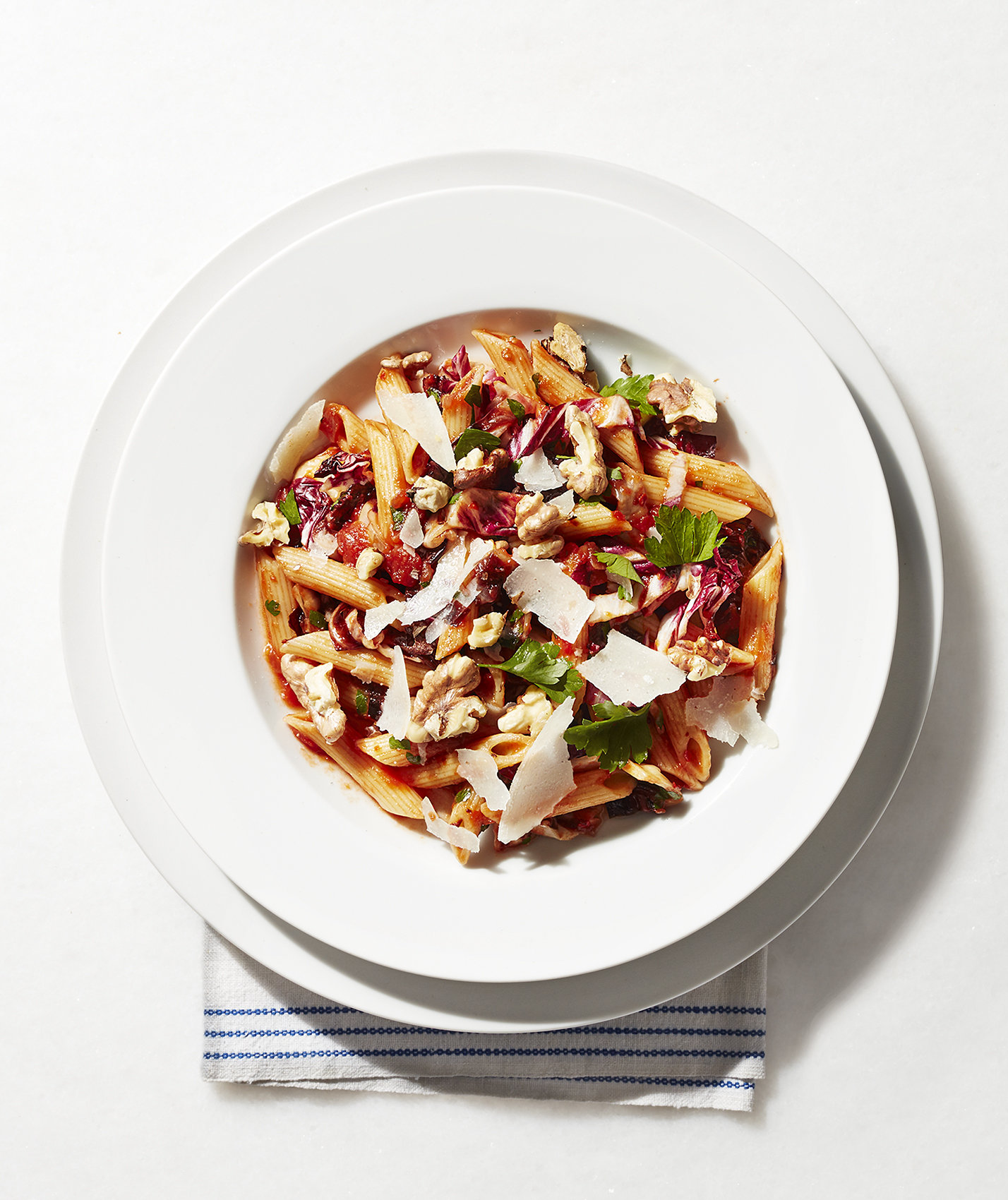penne-red-sauce-radicchio-walnuts