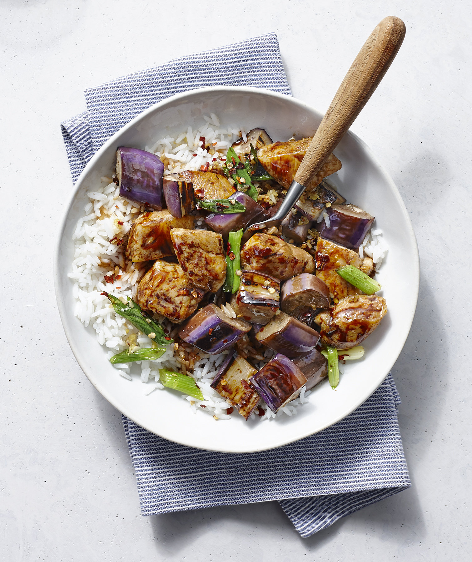 Spicy Chicken and Eggplant Stir-Fry | Real Simple