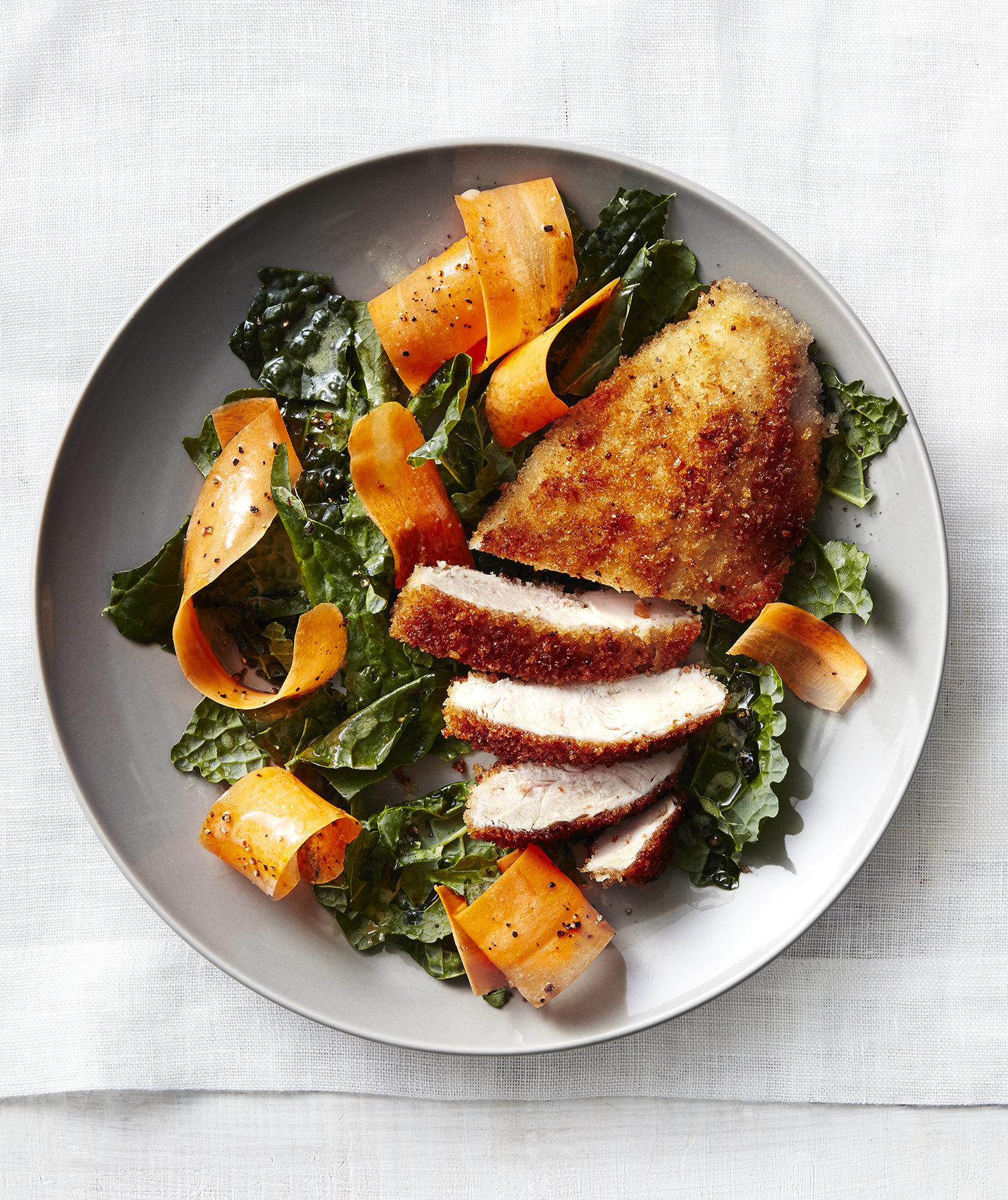 Crispy Chicken Cutlets with Kale Salad | Circles Of Gresilda