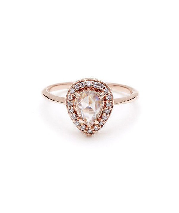 Anna Sheffield Rose Cut Pear Rosette Affordable Engagement Rings