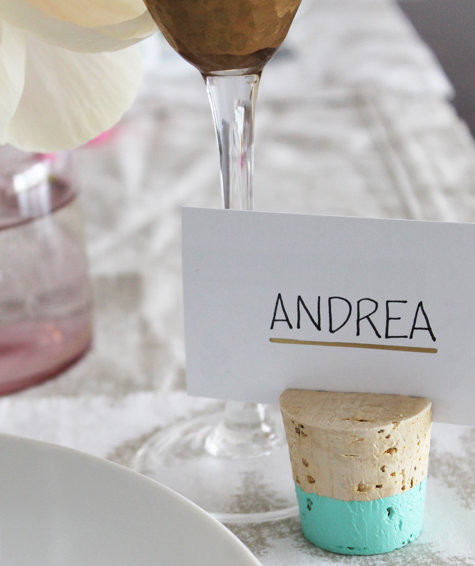 7 Cheap And Easy Diy Wedding Decoration Ideas: Color Dipped Cork Place Card Holders