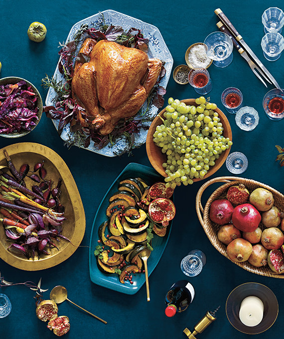 turkey-and-sides-on-blue-table