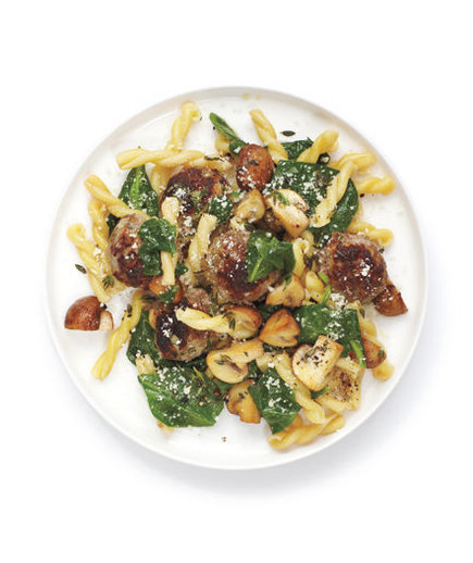 pasta with spinach and meatballs
