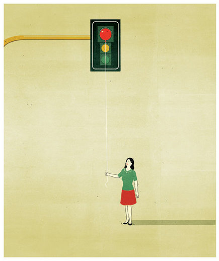 woman-red-balloon-stop-light