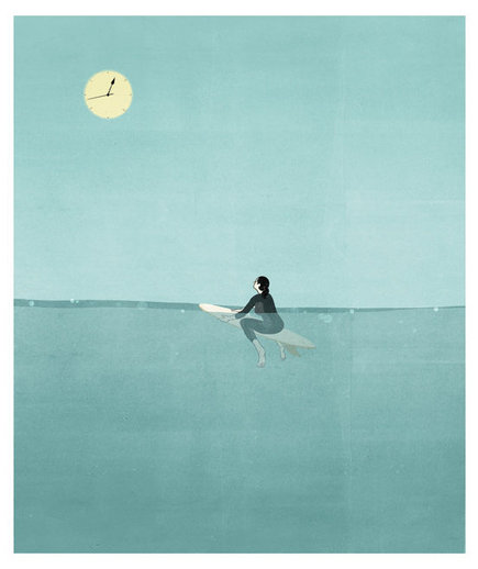 sun-moon-clock-surfer-board