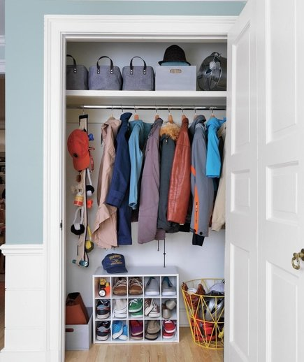 Foyer Closet Organization : All hail the hall closet organize entryway real simple