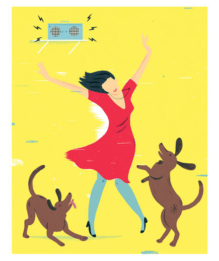 woman-dogs-music-dancing-illustration