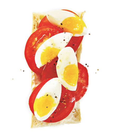 Open-Faced Egg And Tomato Baguette