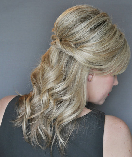real hair hairstyles : half up half down hairdo makes for the perfect prom hairstyle! via